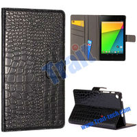 Glossy Crocodile Pattern Wallet Stand Flip Leather Case for Asus Google Nexus 7 Second Generation II 2