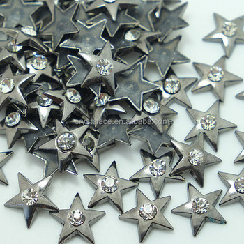 Wholesale Star Hot Fix Studs with Crystal,Silver,Black Nickel,Gold Colour Hot Fix Alloy Studs, Hotfix Zinc Alloy Studs in China