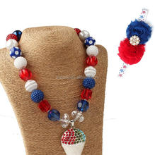 4th of July American Flag Beads Necklace Ice-cream Cone Pendant Chunky Bubblegum Necklace+Shabby Flowers Hairband Sets