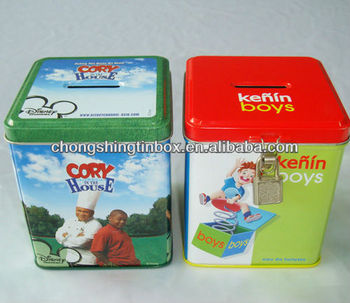 Square Money saving tin box wholesale