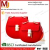 2015 lady pu leather handbag, red shoulder bag with Metallic Link Belt