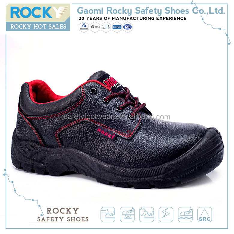Black pu lightweight industrial safetoe safety shoes