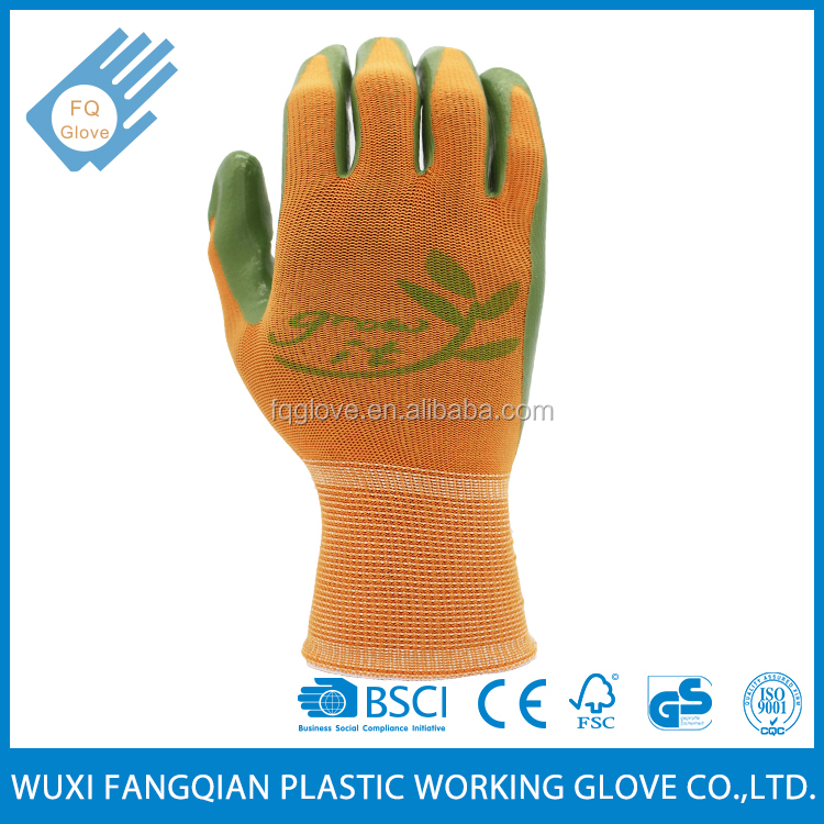 Green Nitrile Coated Knitted Glove For Gardening Work