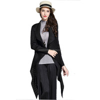 New european fashion alibaba express long style Black pleated please coat