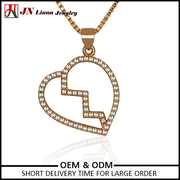 JN2042 Fashion High Quality zircon stone gold plated heart pendant necklace