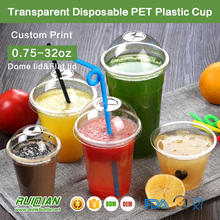 0.75-32oz Custom Printed Clear Transparent Disposable PET Plastic Cup With Lid