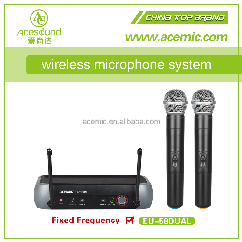 Cheap two channel UHF Microfone SEM FIO system EU-58dual china enping manuafacture bodypack for shure