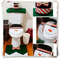 [JOY] Hot Selling Santa Snowman Toilet Seat Cover and Rug Bathroom Set Contour Rug Decoration For Christmas