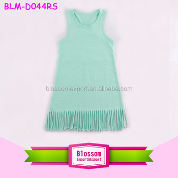 Fancy Baby Girls Sleeveless Dress Long Frocks for Girls One-piece Dress with Tassel Cotton Kids Fringe Dress