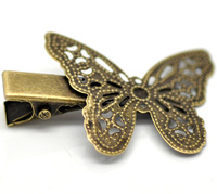 Hair Accessories Antique Bronze Filigree Butterfly Prong Hair Clips