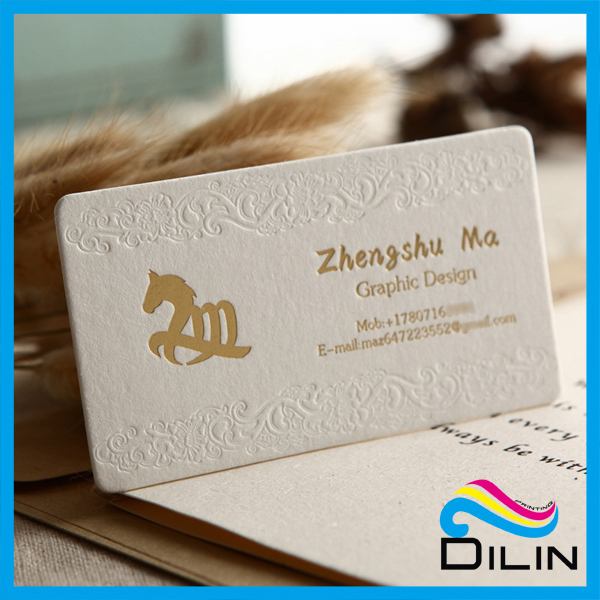Cotton paper name card, letterpress printing name cards, embossed bossed name card