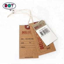 One Set of 3 PCS Design Custom Logo Jeans Garment Kraft Paper Hang Tags with Safety Pin and Eyelet