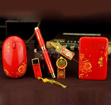 Hot selling Chinese Red USB flash drive+mouse+keychain+power bank combo