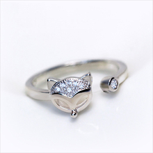SJJ309 Fashion Animal Ring 925 Sterling Silver Women Cubic Zirconia Smart Fox Finger Ring