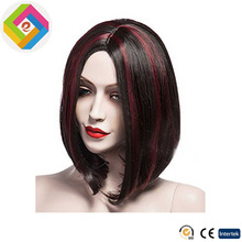 Multicolor Centre Parting Medium Long Lady's Wig with Red Highlights for Women, Heat Resistant Synthetic Hair
