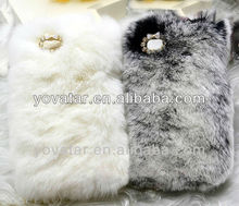 NEW 3D Luxury Winter Warm Rabbit Fur Case Back Cover For iPhone5 iPhone4/4S