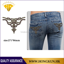 pocket Design use Half round hot fix Through rhinestone transfer motif Application Jeans