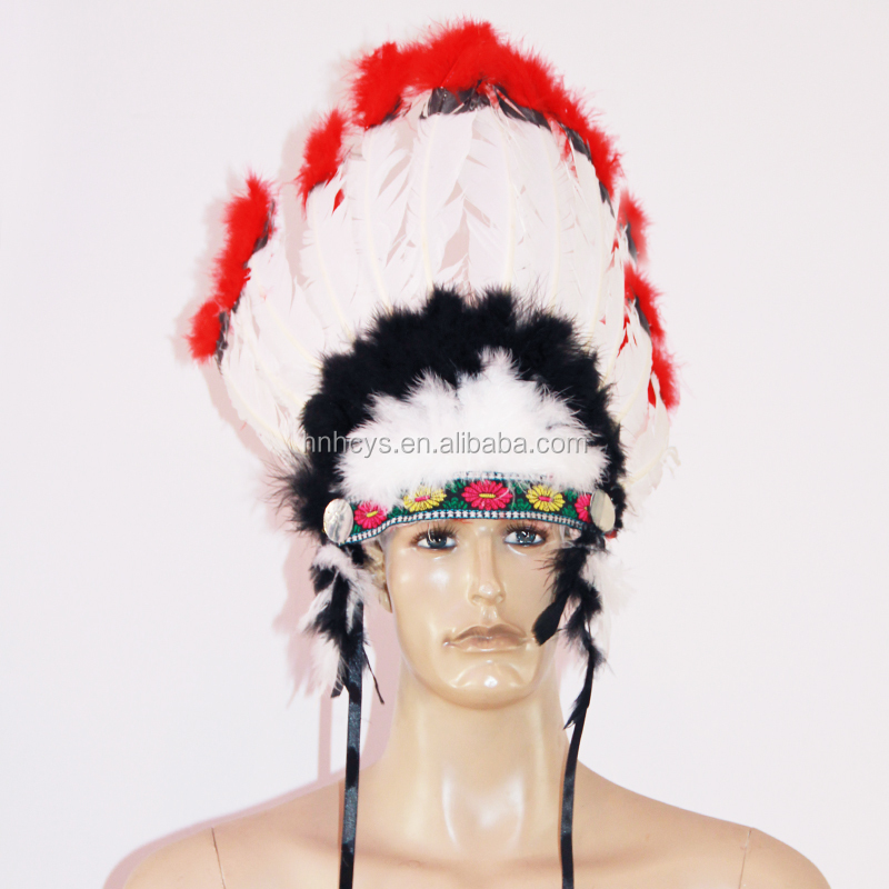 Goose feather and turkey feather Indian style decorative dyed feather headband YS 010T