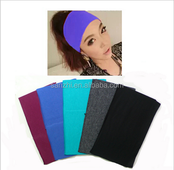 Women 12cm Wide Korean fashion Sports Exercise Yoga Sweatband Dance Stretch Elastic Gym Headband