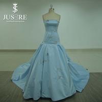 Elegant Strapless Long Evening Dress Party Dresses Mermaid Embroidery Satin Light Blue Evening Dress wholesale