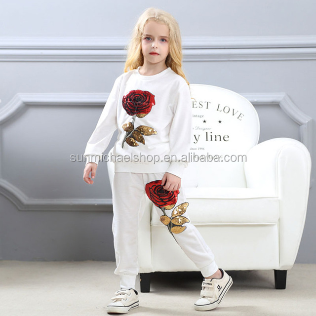 Girls Clothing Sets 2018 Spring fall Wool Sportswear Long Sleeve Rose Floral Embroidered Sequin Kids Clothing Sets Black