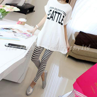 In 2015 the black and white stripes printed leggings fashion and personality