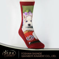 dog printing sublimation red men socks unisex seamless socks