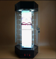 locked glasses display case with light made by acrylic material