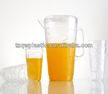 Transparent Plastic water jugs with 4 cups for beverage