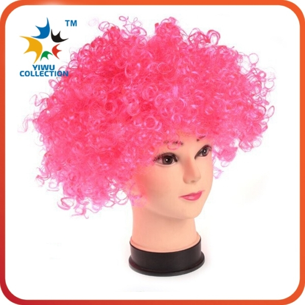cheap fashion long curly hair fans football white red blue wig