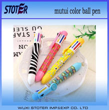 custom plastic multi ink color ball pen for promotion