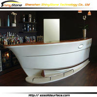Amazing indoor design solid surface/artificial marble boat style bar counter for sale