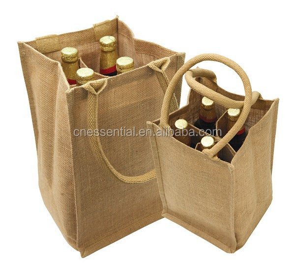Large size tote portable jute wine beer bottle bag with customized design