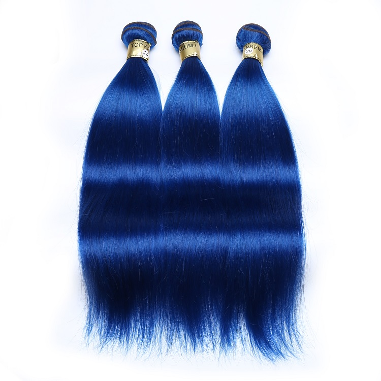 Hot selling wholesale hair products XBL virgin remy blue curly hair weave color