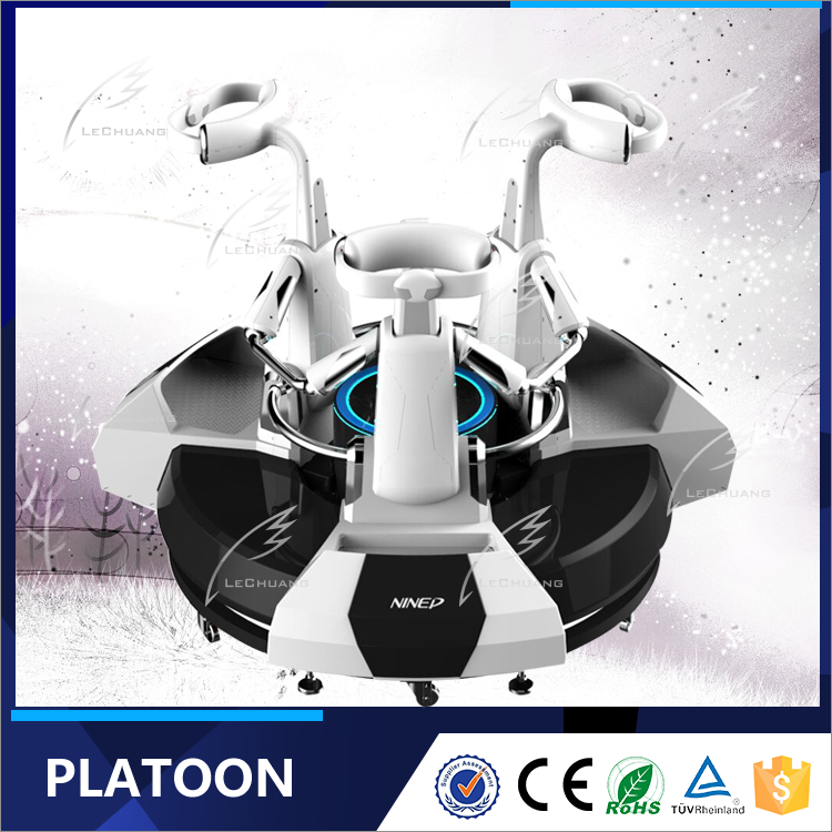 2016 New Design Platoon Standing Up VR Machine Interactive Projector Game 3 Seat 9d VR Simulator Platoon