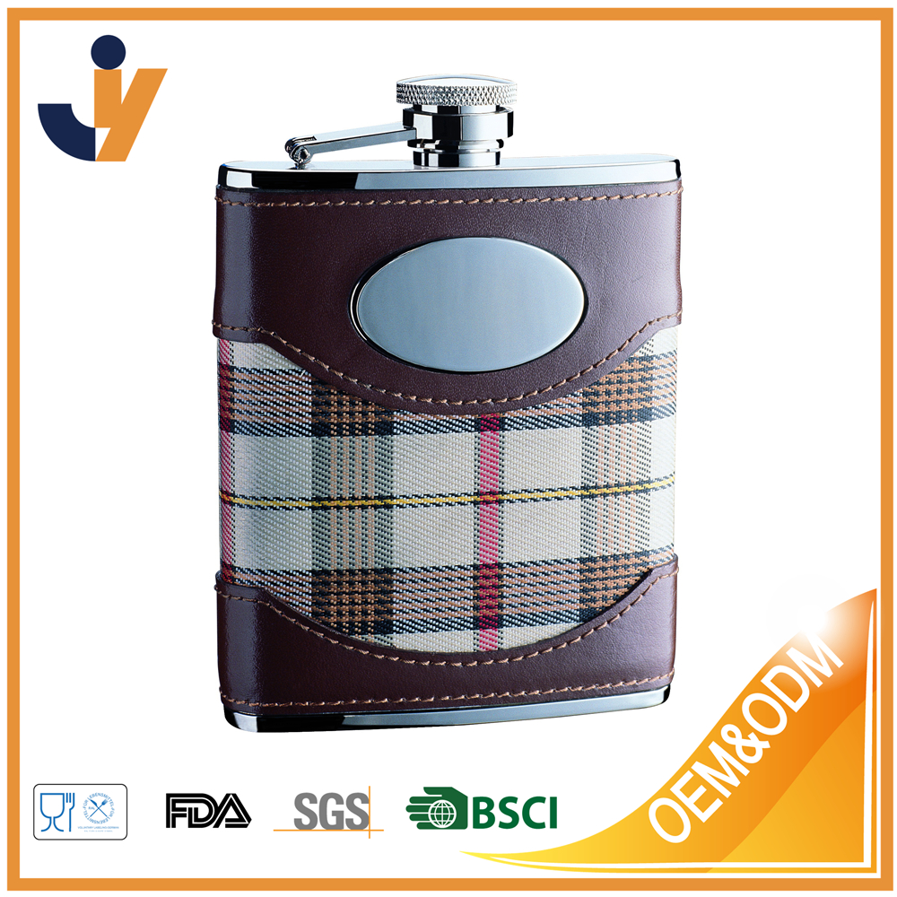 6 oz. Stainless Steel Flask in Brown Leather and white Plaid Fabric