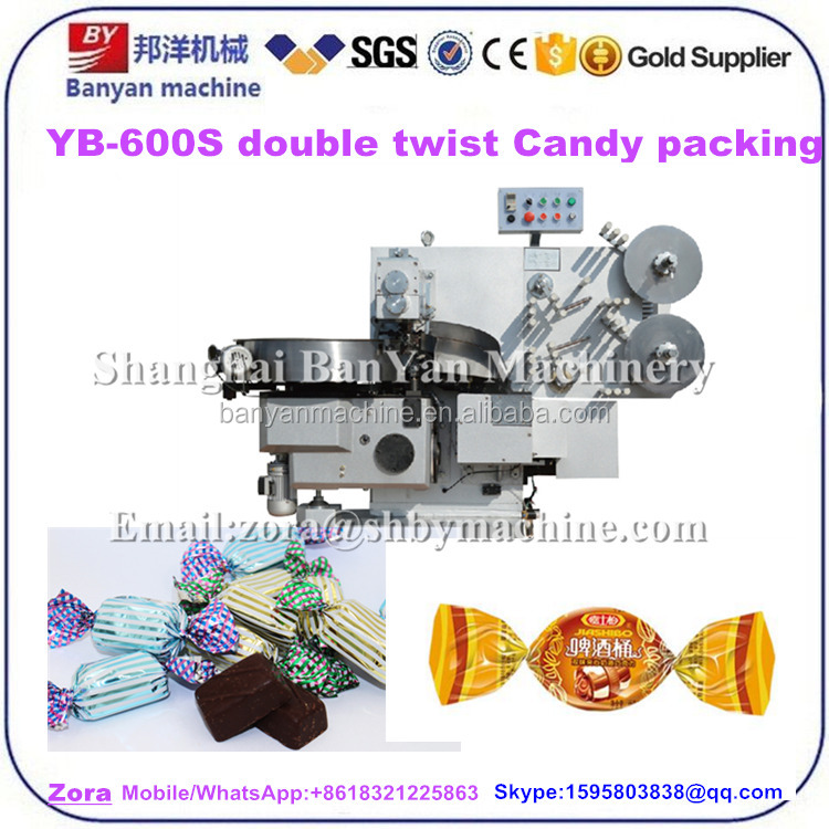Fully automatic YB-600S Double Twist Hard milk Candy/ beef cubes/ chocolate Packing Machine