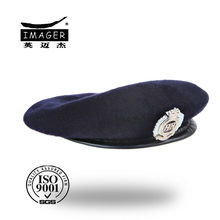 Custom design black wool military beret