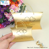 gold pillow box for chocolate/candy packing box with logo