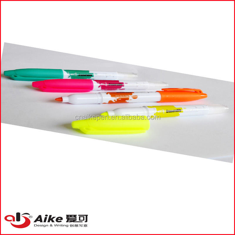 NEW DESIGN 2 in 1 erasable highlighter with dual tips suitable for office and promotion