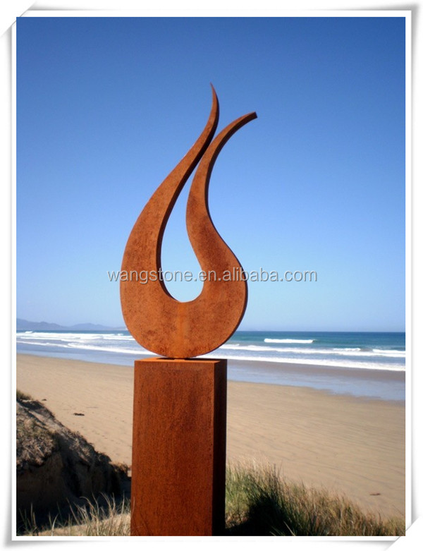 Contemporary scenery decoration corten steel fire sculpture
