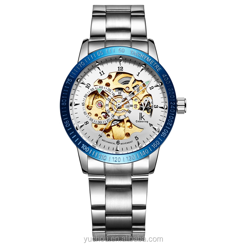 Ik Colouring Steel Blue Bezel White Dial Mens Automatic Watch