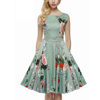 Women Retro Vintage 1960s Rockabilly Floral Swing Summer Dress Clothes