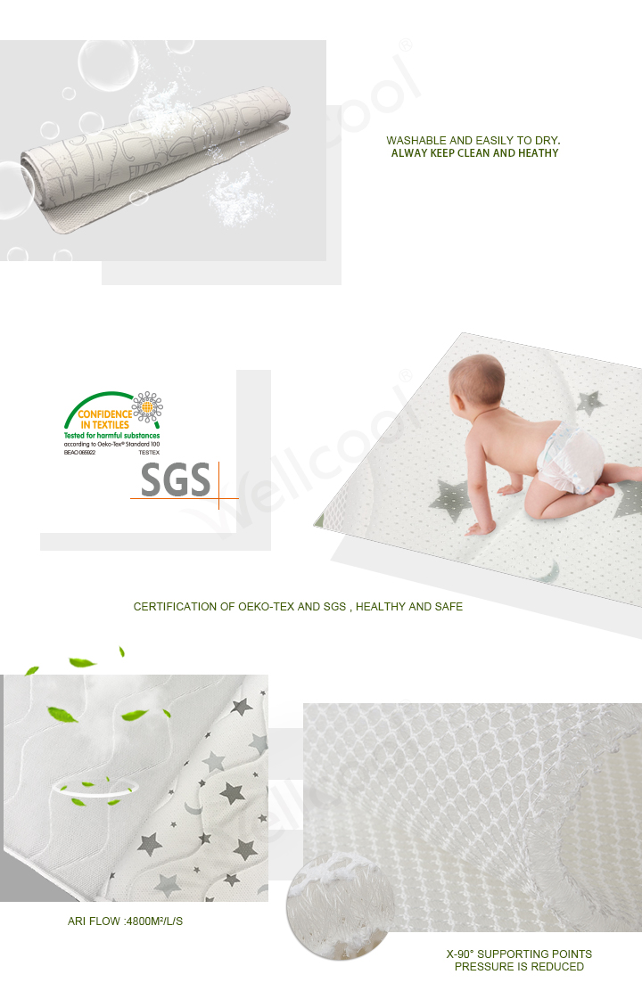 light blue stripe 3d mesh fabric baby sleeping pad