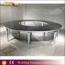 round tempered black mirrored glass event dining table