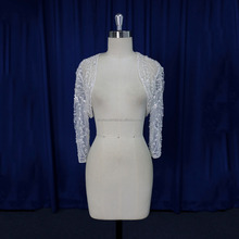 Pretty embroidery beaded wedding accessaries bridal bolero jacket for brides