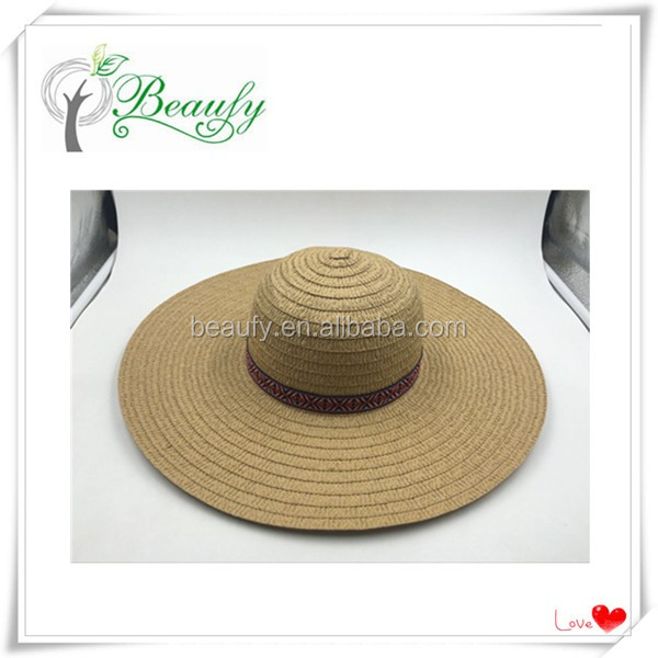 Shandong Hot Sale Paper Braid Wide Brim Floppy Hat