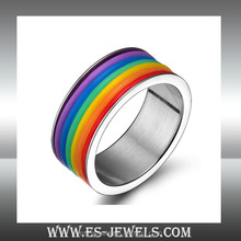 colorful rainbow ring men gay ring