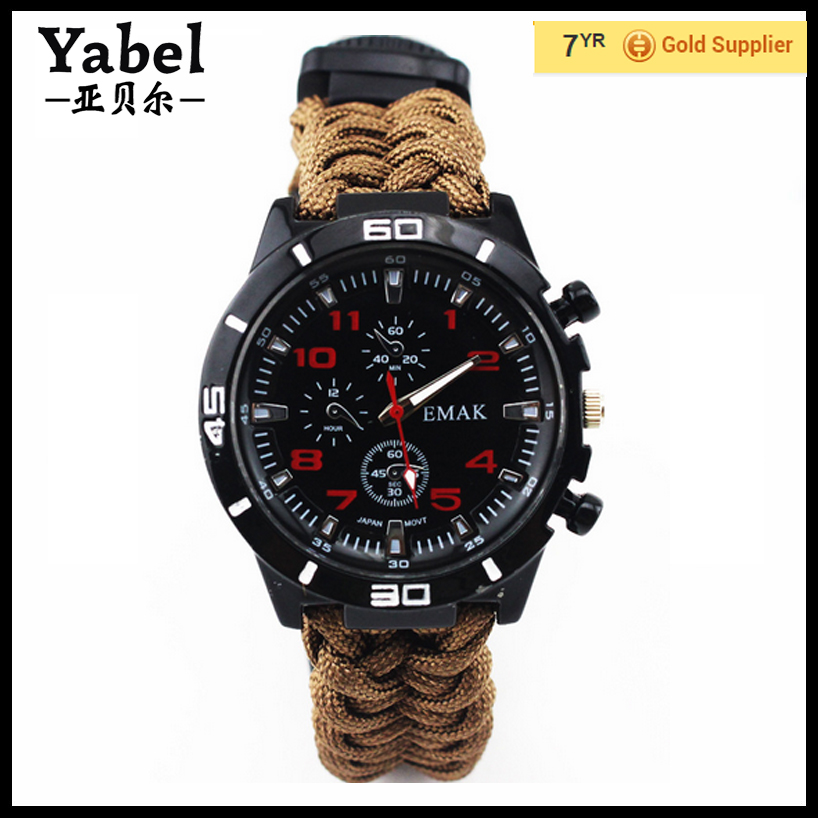 Outdoor life can save life survival tool rope bracelet survival watch