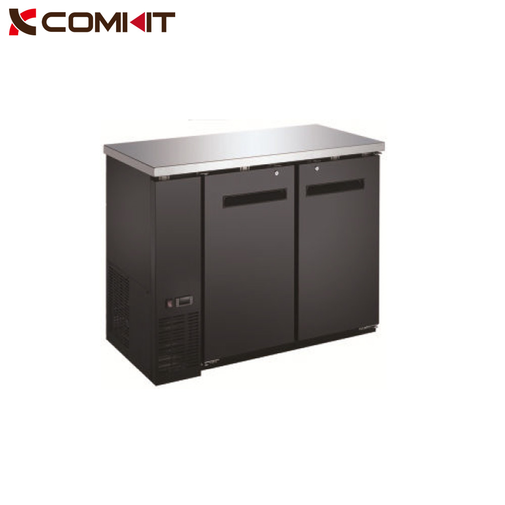 Black Narrow Solid Door Undercounter Back Bar Refrigerator Cooler with LED Lighting